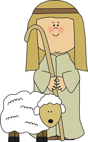 Nativity shepherds. Shepherd with sheep clip