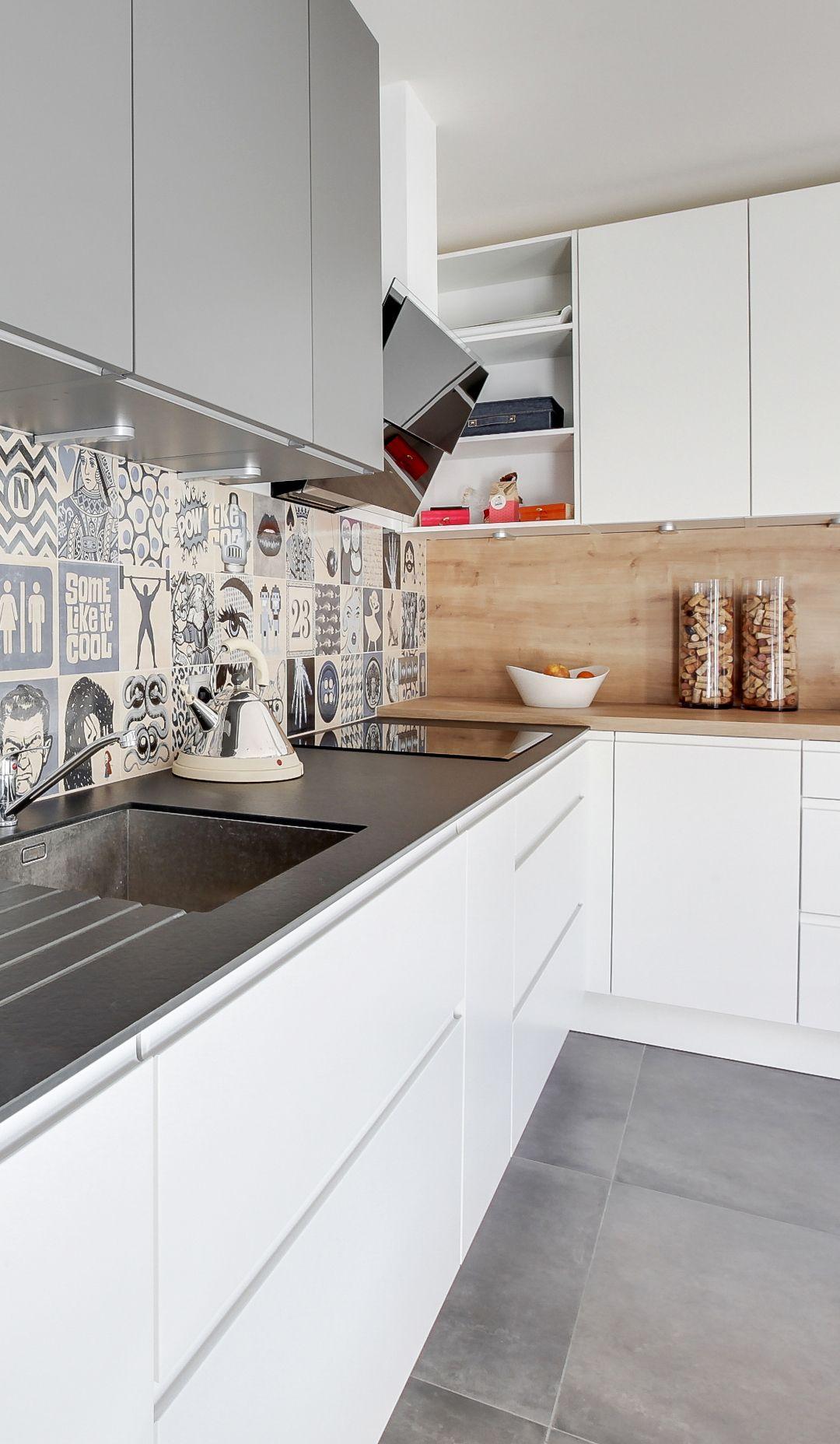 cuisine moderne cuisine grise et bois