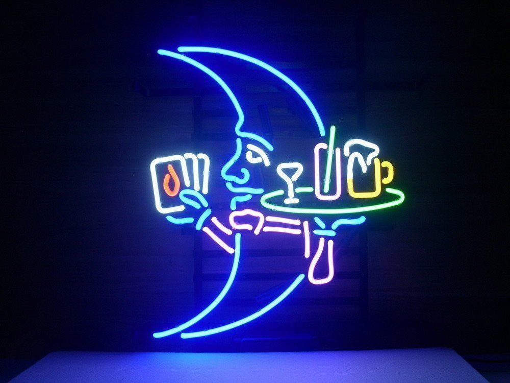 17*14  Blue Moon Neon Light Sign Store Display Beer Bar Sign Real Neon