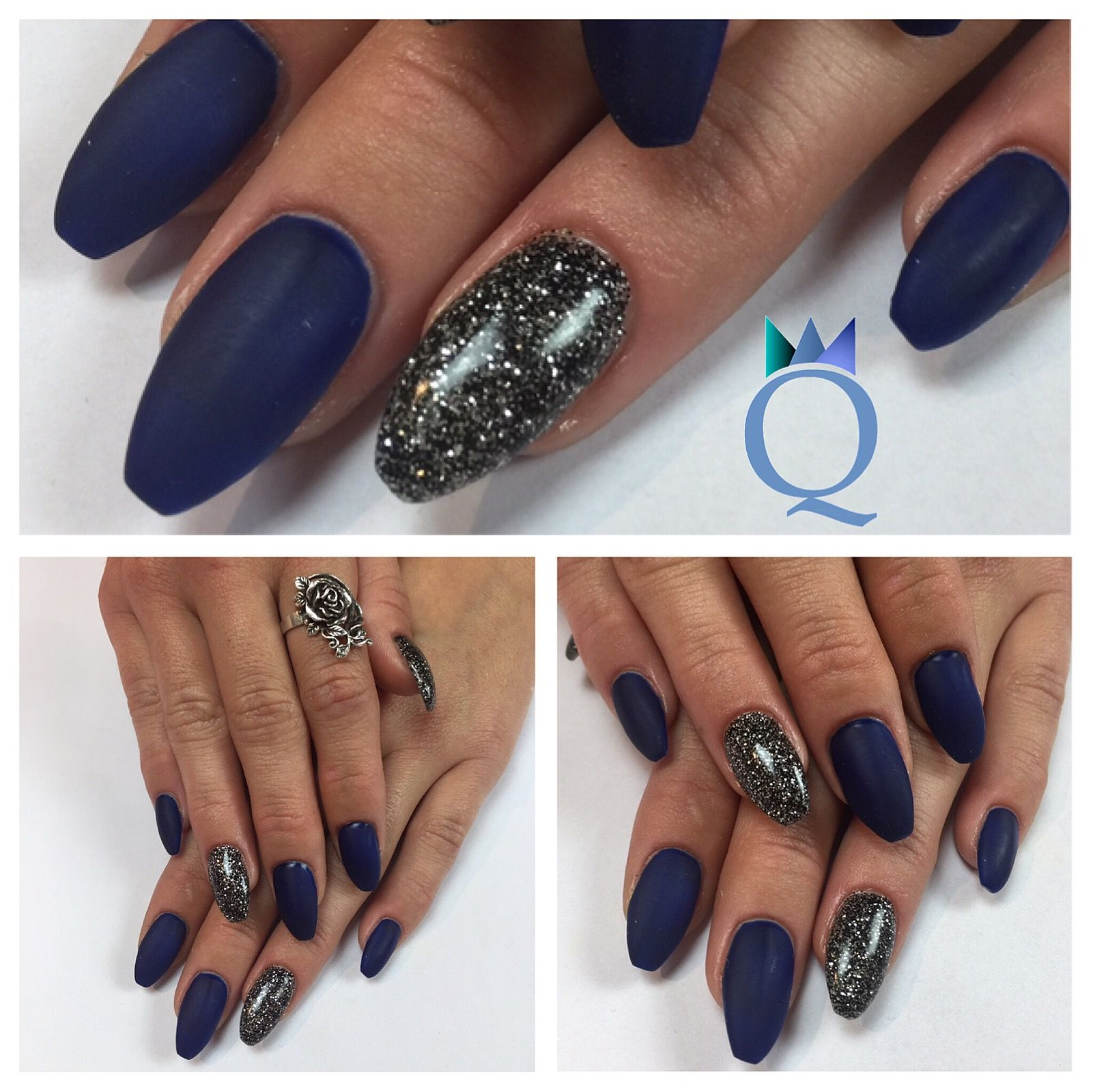 coffinnails gelnails nails darkblue mat black silver glitter ballerinaform geln gel. Black Bedroom Furniture Sets. Home Design Ideas