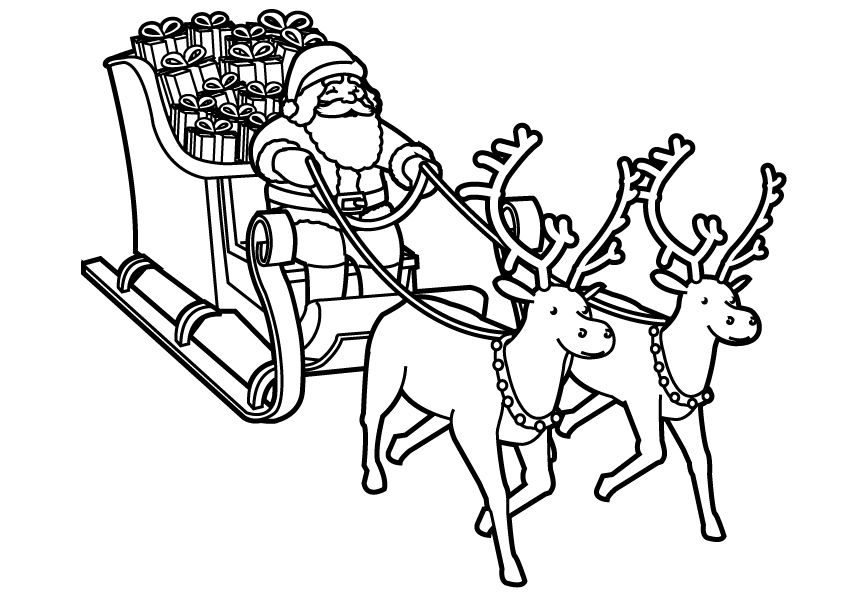 dessin pere noel avec traineau gratuit my coloriage a colorrie pinterest coloration. Black Bedroom Furniture Sets. Home Design Ideas