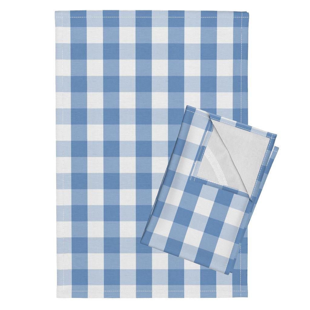 Classic Pale Blue Pastel Gingham Check Linen Tea Towels Set Of 2