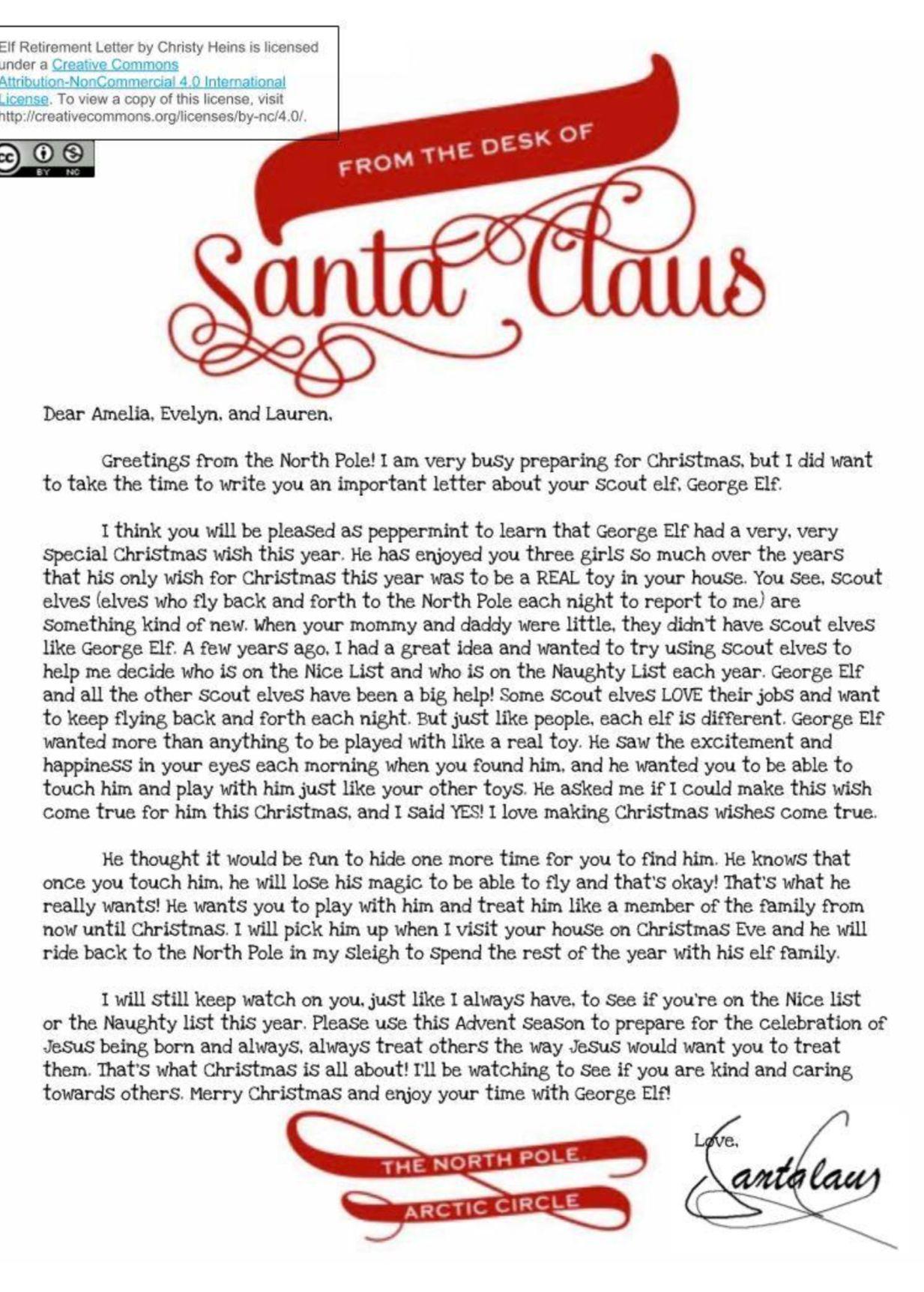 Elf on the shelf retirement letter Elf on shelf letter