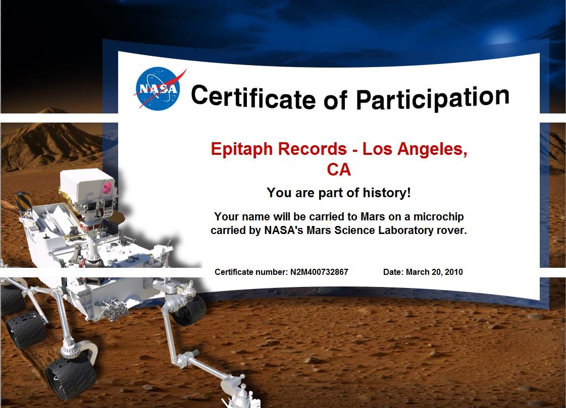 Epitaph Is In Space