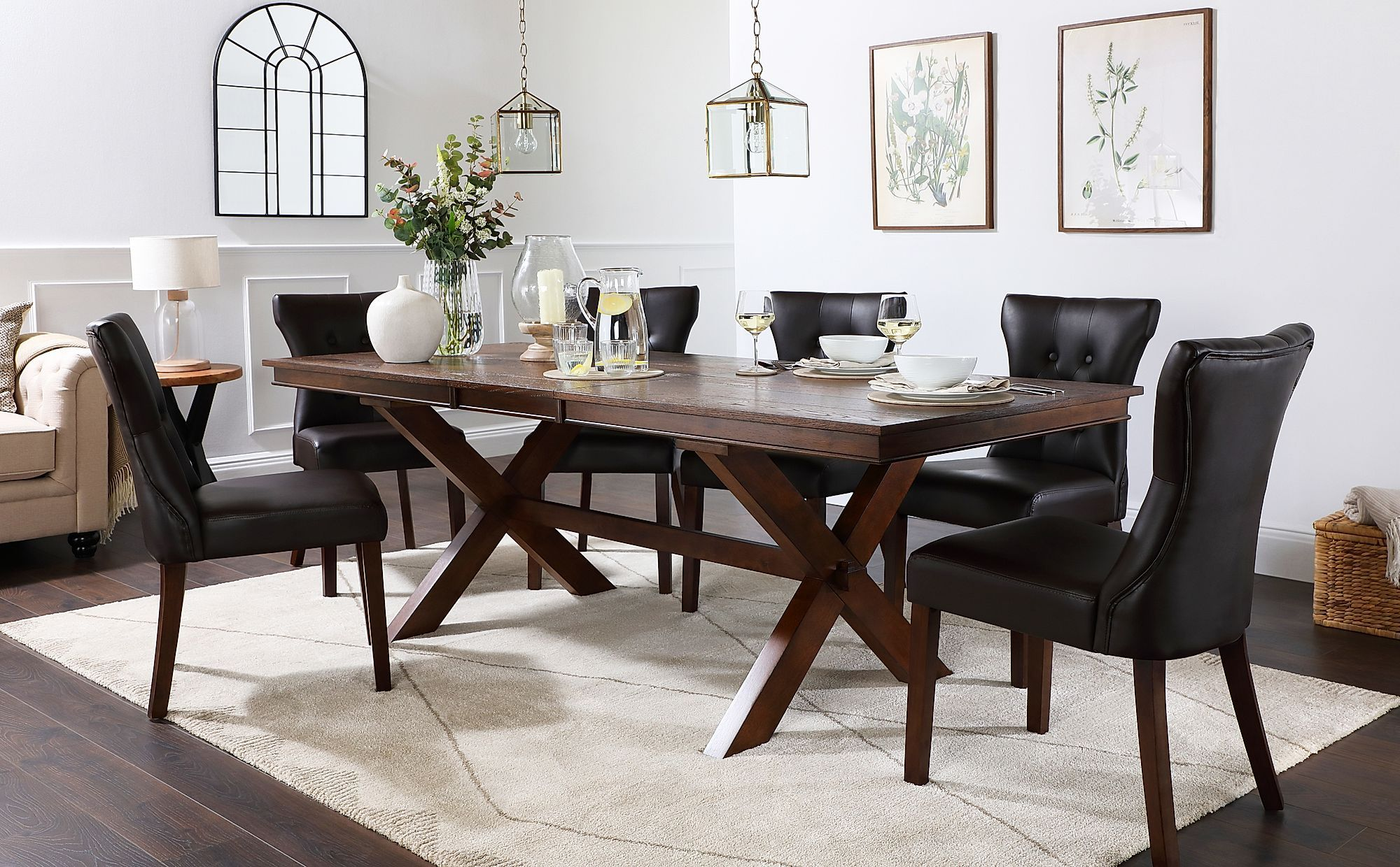 Grange Dark Wood Extending Dining Table With 4 Bewley Brown