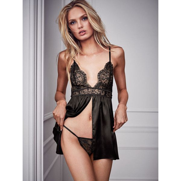 ce1be33e4 Victoria s Secret Satin   Lace Babydoll Lingerie (450 SEK) ❤ liked on  Polyvore featuring intimates