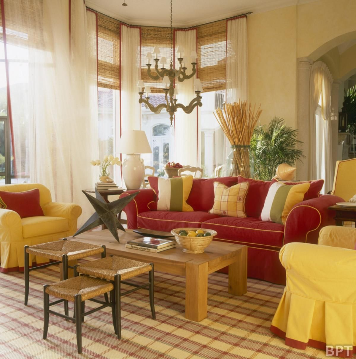 Classic interior living room design with yellow and red Red sofa ideas