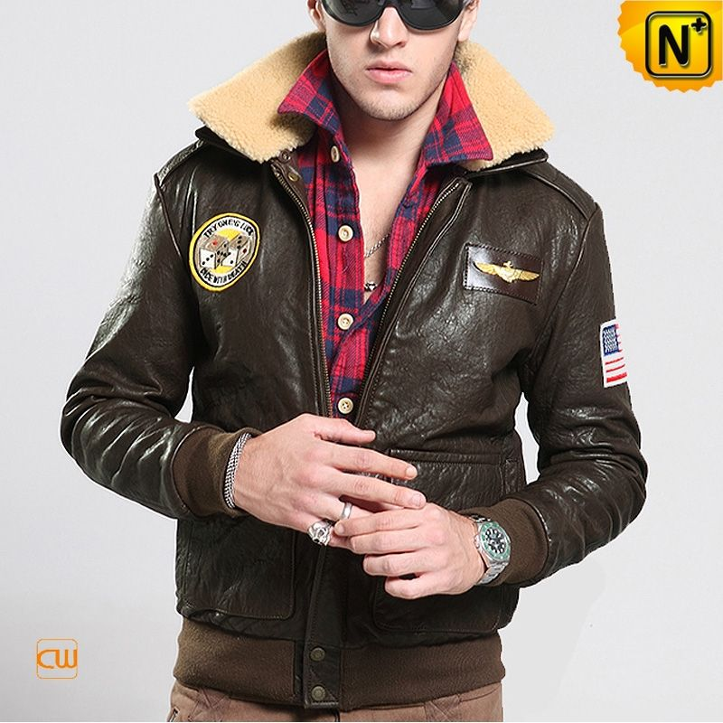 Mens Leather Bomber Jacket with Fur Collar CW850233 Classic men's ...