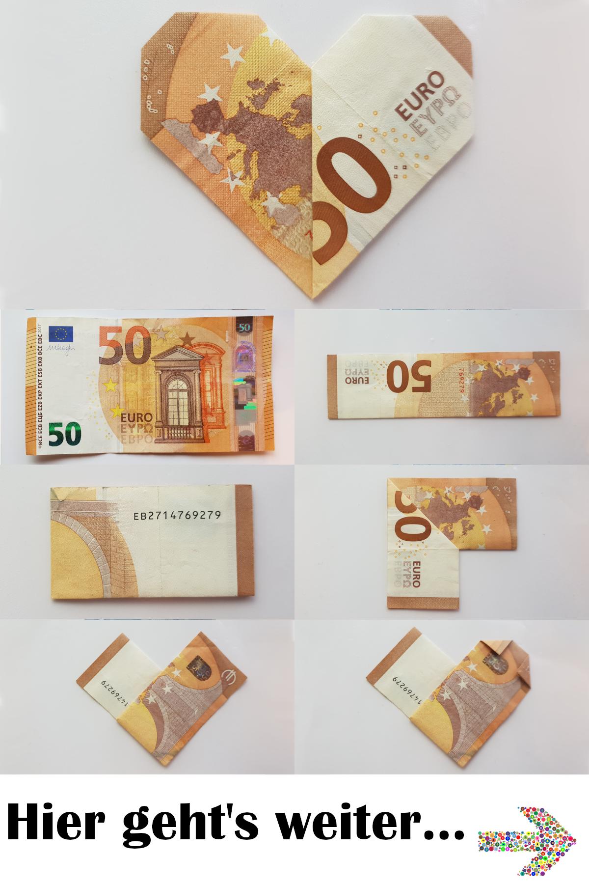 Herz aus Geldschein falten - so einfach geht's - Tutorial #origamianleitungen