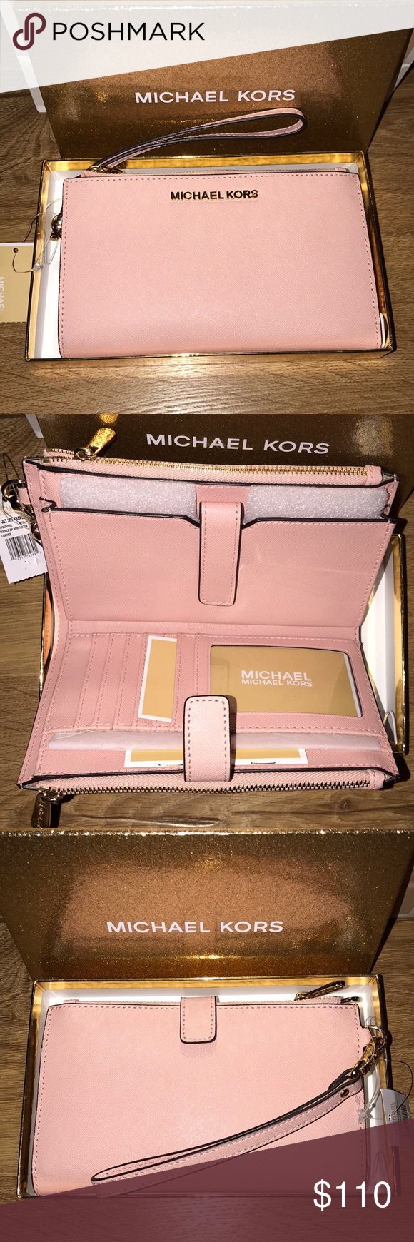 97701da8c16355 Michael Kors Jet Set Travel Double Zip Wristlet Pastel Pink - 35F8GTVWOL  Effortlessly organize your cards