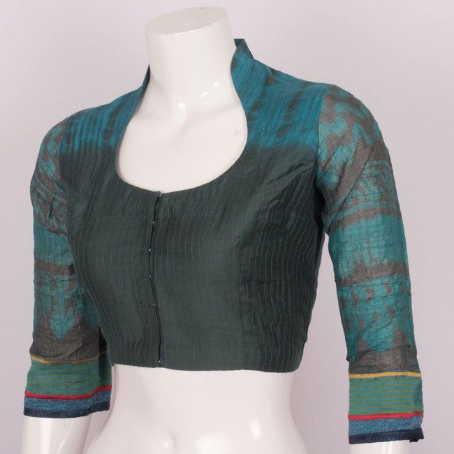 Hand Block Printed Silk Blouse With Collar Neck 10010592 Size 38