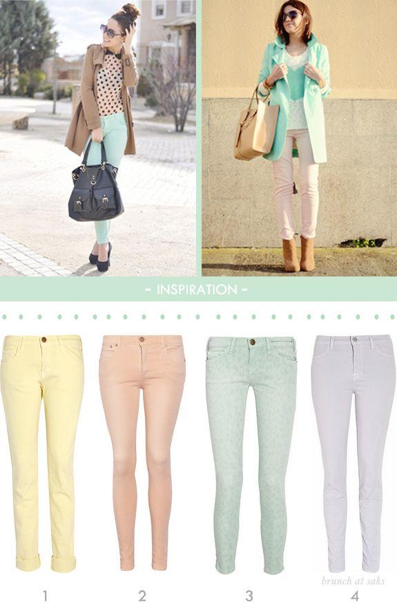 mint jeans   Fashion, Pastel jeans, Colored jeans