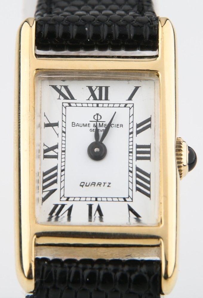 246c9a065f7 Baume   Mercier Φ Vintage 14k Yellow Gold Quartz Watch w  Black Leather  Band  BaumeMercier  Dress