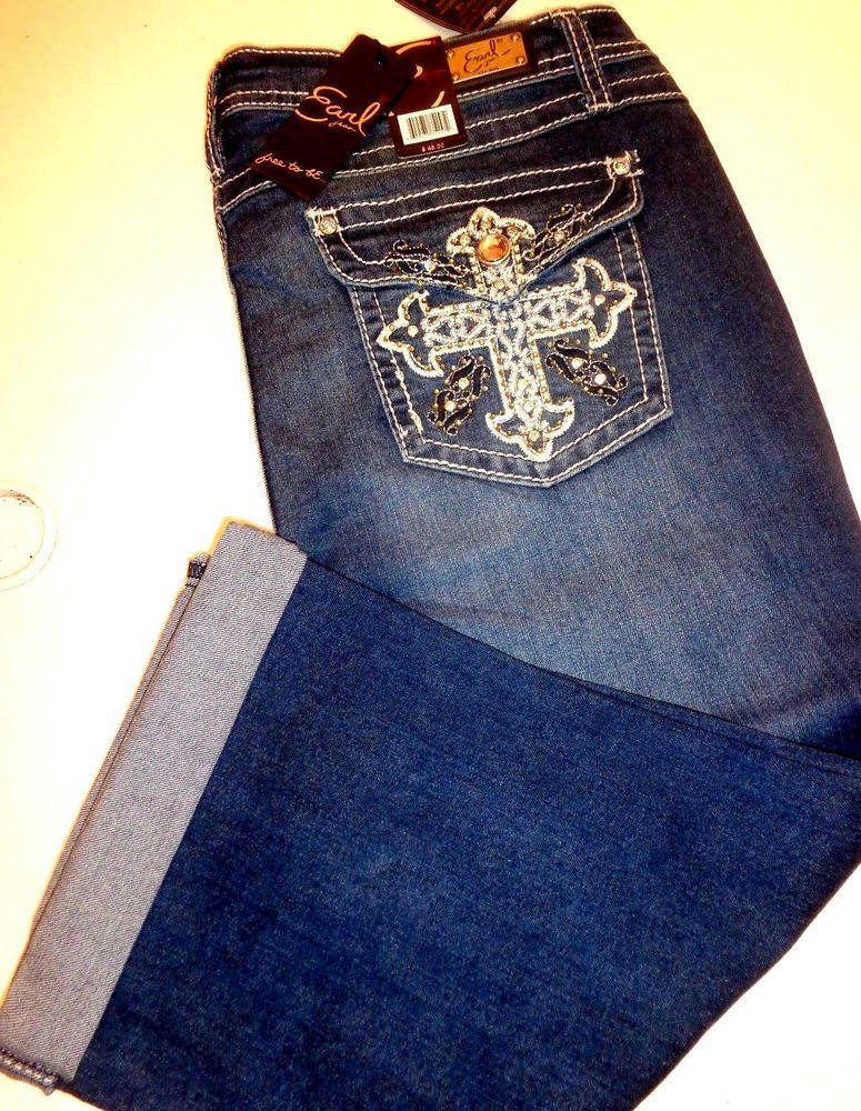 31c7aafc309 EARL JEANS CAPRI Embroidered Bling Pockets Size 14 P Capri s  EarlJean   CapriCropped