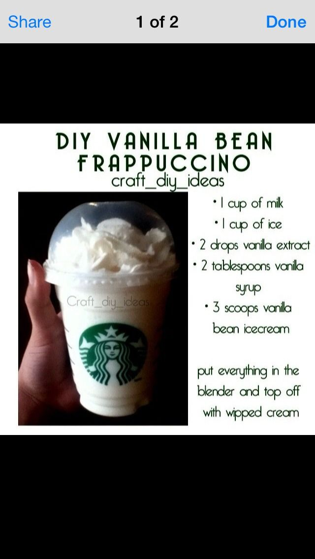 Homemade Starbucks Vanilla Bean Frappachino