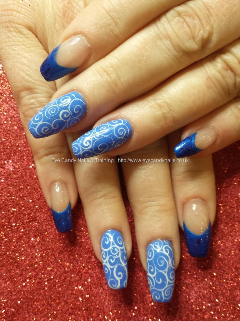 Blue gels with white freehand swirl nail art #nails #nailart | Nägel ...