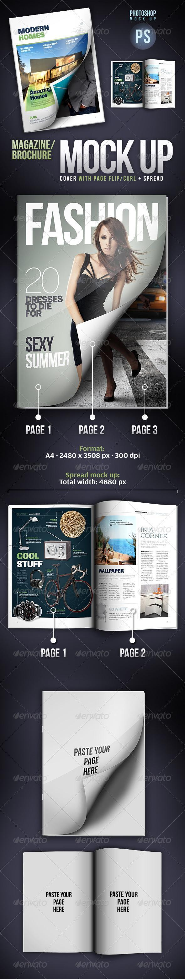 Magazine Brochure with Page Curl Mock-up PSD - Premium