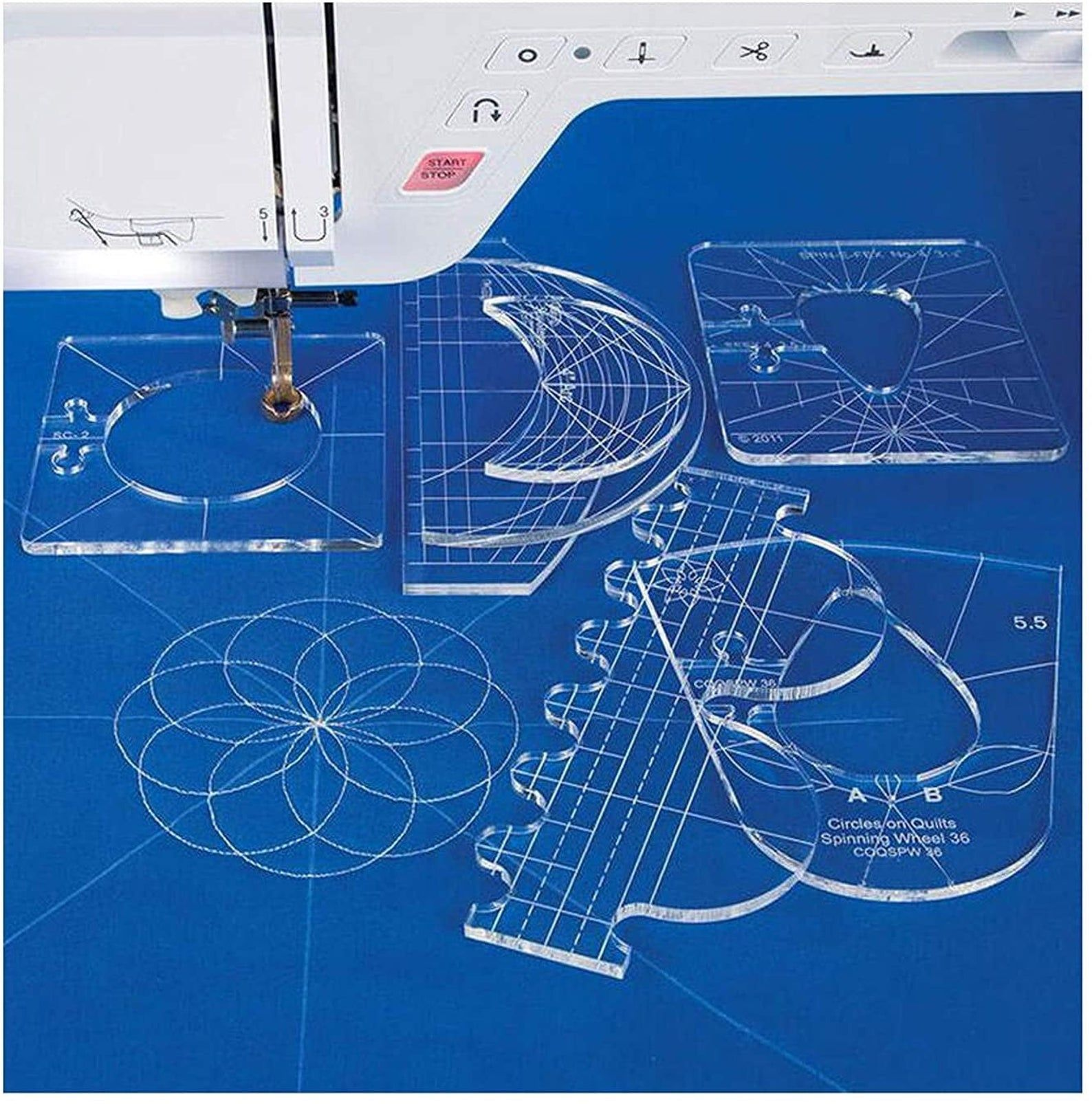 Clear Quilting Template Free Motion Patchwork Ruler Dressmaking DIY 8x4.2/'/'