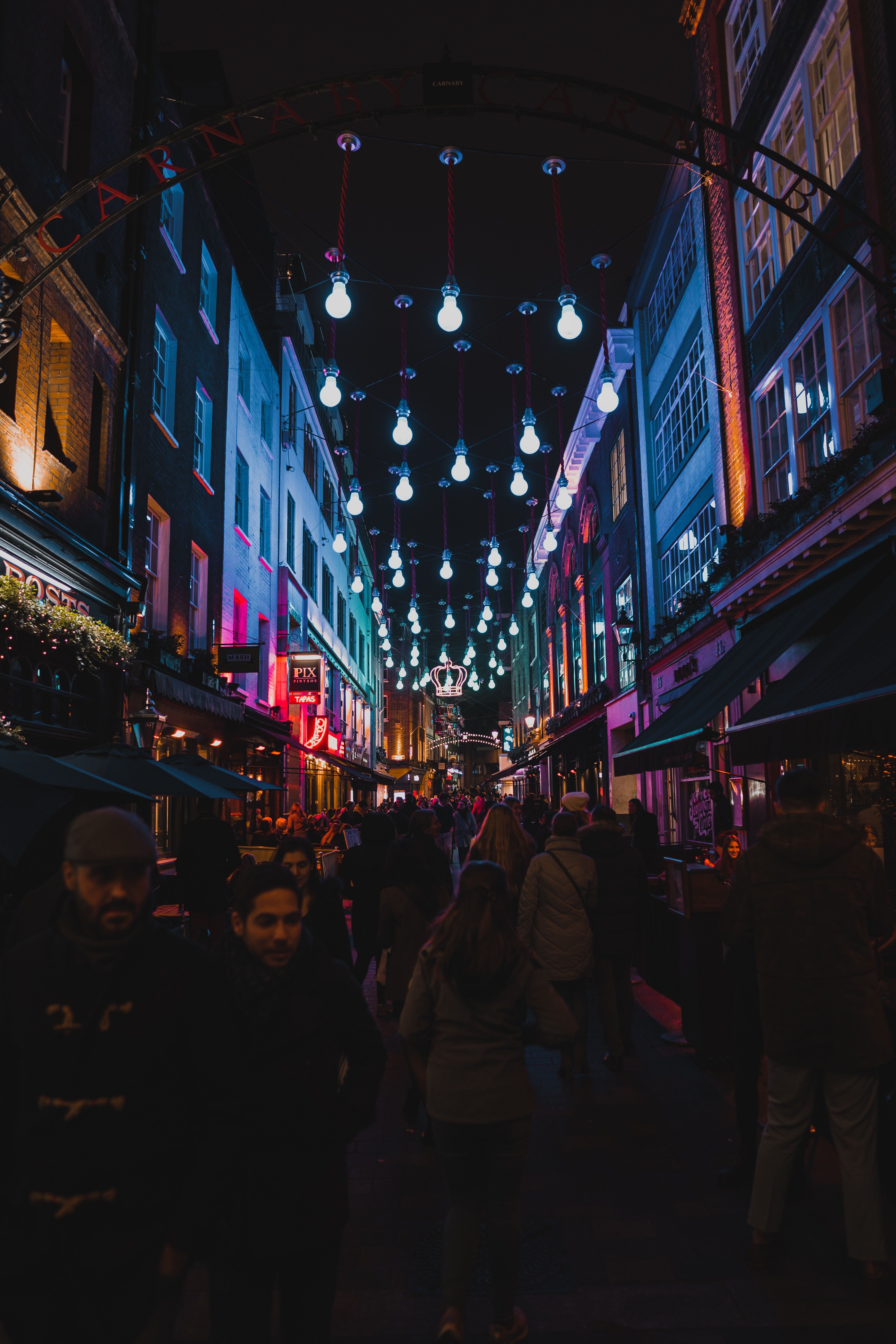 Carnaby Street, London, United Kingdom, An evening in SoHo, London, during  the Christmas season., SONY, ILCE-650…   London night, Night life, Things  to do in london