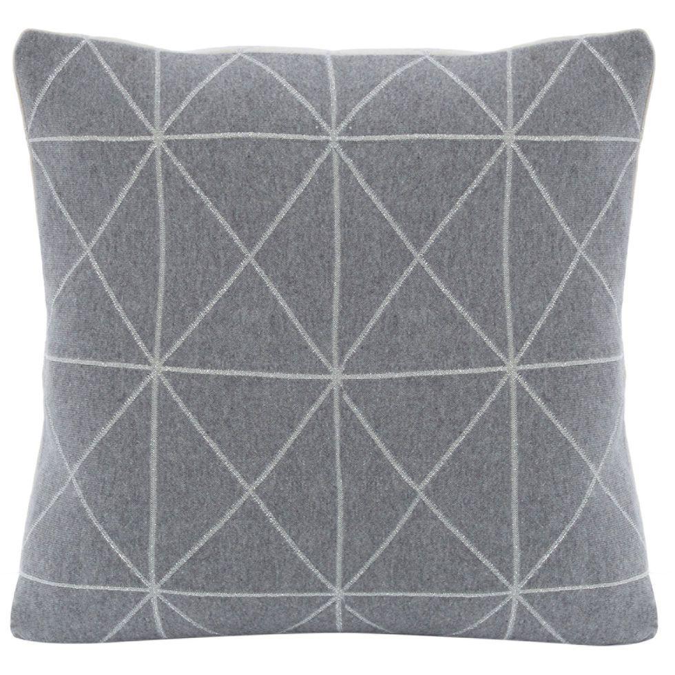 Grey Silver Geometric Cushion 50x50cm