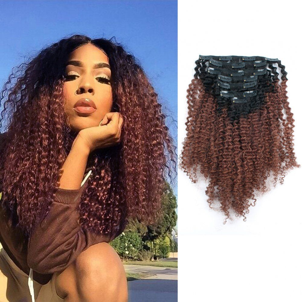Sassina Remy Human Hair Two Tone 1b 33 Ombre Afro Curly Clip In