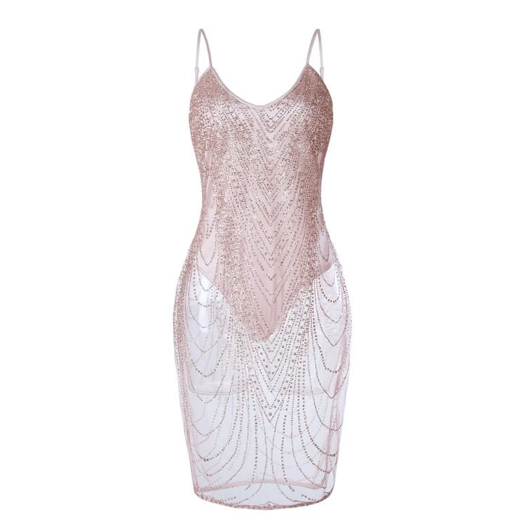 50bd5422ed Sleeveless Shinning Backless Sequined Party Short Bodycon Dress