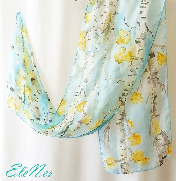 Hand painted silk scarf with white birch Autumn от EleNesSilk ...