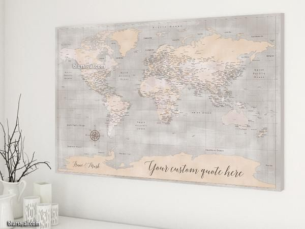 Personalized world map canvas print or push pin map rustic world personalized world map canvas print or push pin map rustic world map with cities and antarctica adelaide gumiabroncs Choice Image