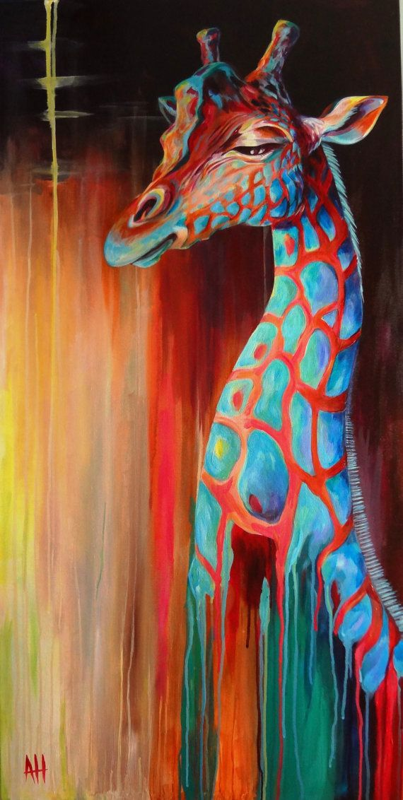 TANGERINE Reticulated GIRAFFE Giraffe Fine Art by ...
