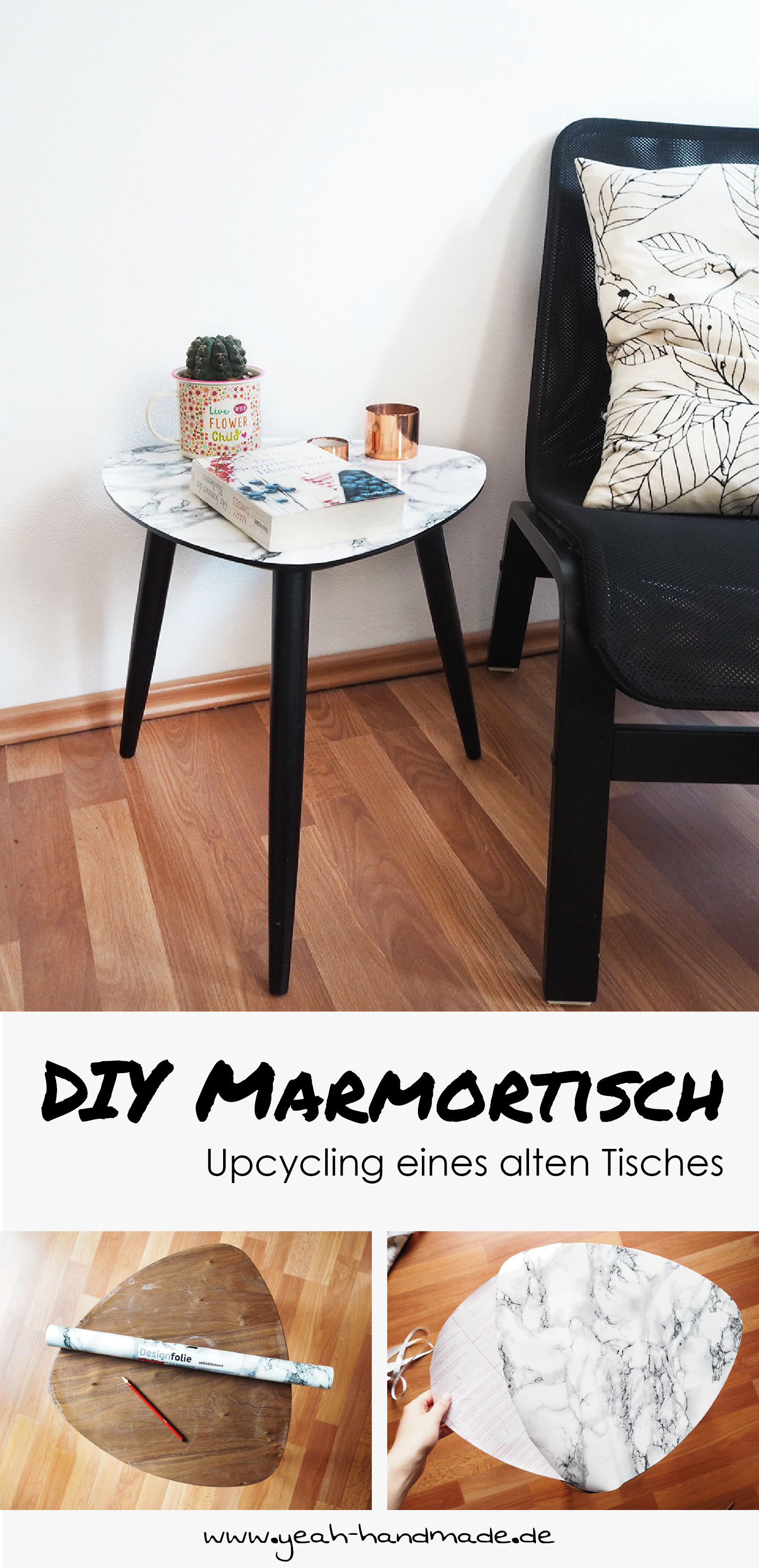 DIY Marmortisch selbermachen: Upcycling eines alten, kleinen