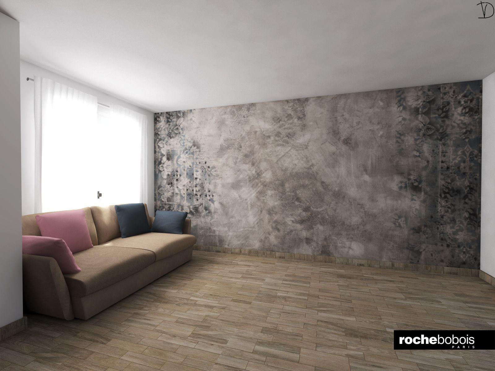 Simulazione carta da parati Brush con divano Agiorno by Rochebobois