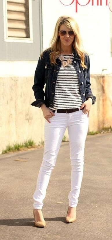 White Jeans Black White Striped Shirt Denim Jacket Statement Necklace Perfect Outfit Outfits Fashion