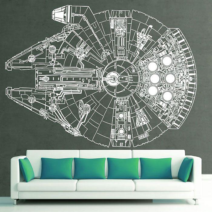 Star Wars Millennium Falcon Vinyl Wall Art Decal Wd 0299 Star Wars Wall Decal Star Wars Wall Art Vinyl Wall Art