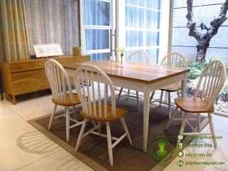 meja makan minimalis jati desain scandinavian (dengan