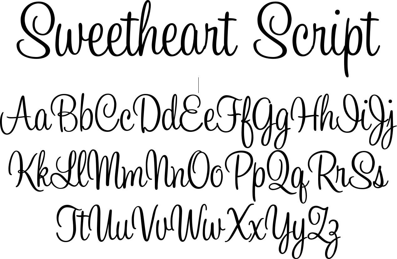 Sweetheart script is based on the elegant styles of