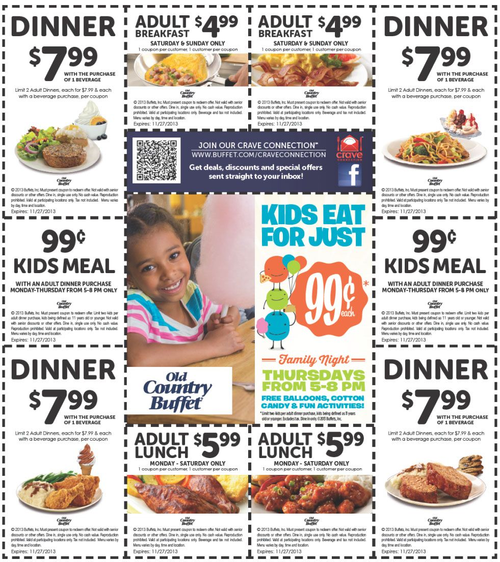 Old Country Buffet Various Printable Coupons Grocery