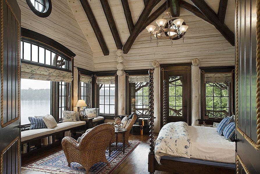 Rustic Bedrooms Log home interiors, Cabin interior
