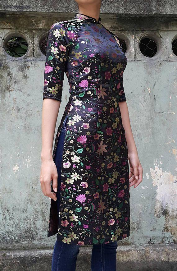 f561c411b76 black tunic dress, Asian dress, tunic dress, asian tunic, ao dai, floral tunic  dress, floral dress, black silk dress, black asian dress