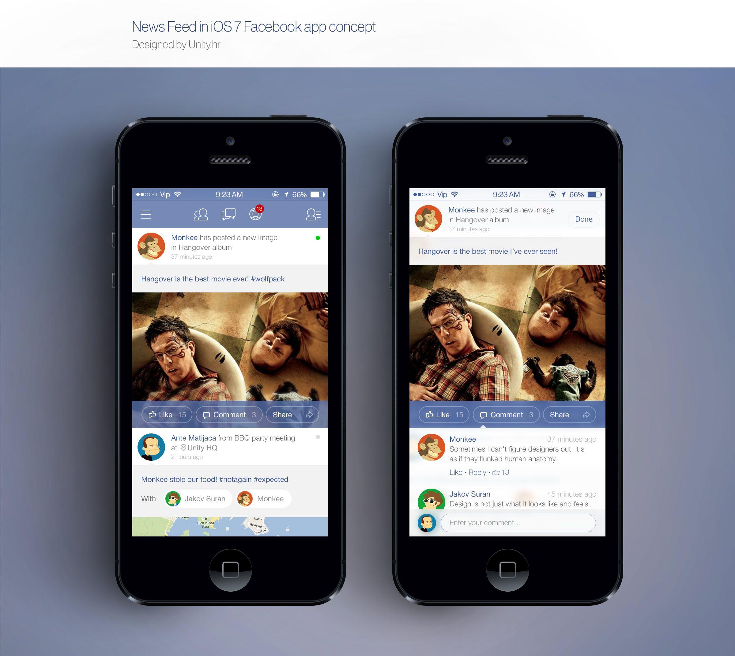 Dribbble social app ui design jpg by ramotion - Facebook Ios 7 News Feed