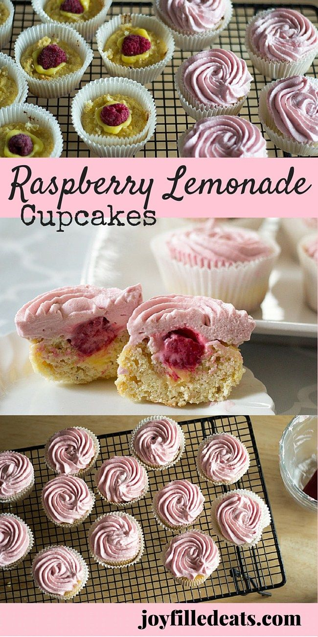 Raspberry Lemonade Cupcakes - Lemon cupcakes filled w/ lemon curd & raspberries & topped w/ a light & fluffy raspberry buttercream? Sign me up. Low Carb, Grain/Gluten/Sugar Free, THM S.