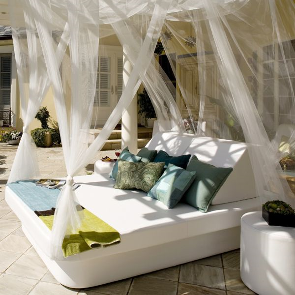 You could do this for an outdoor space with air mattresses ... on Living Spaces Outdoor Daybed id=84335