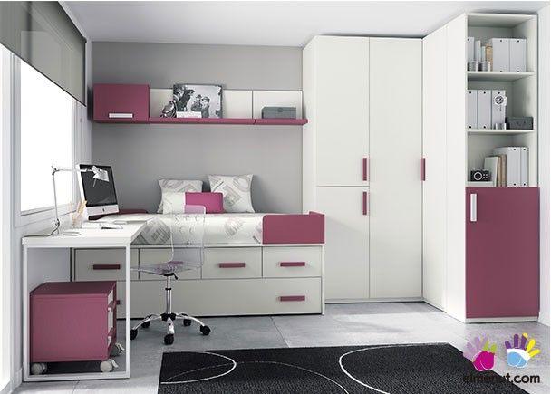 Dormitorio infantil 2 camas armario rinconero - Habitaciones pequenas ikea ...