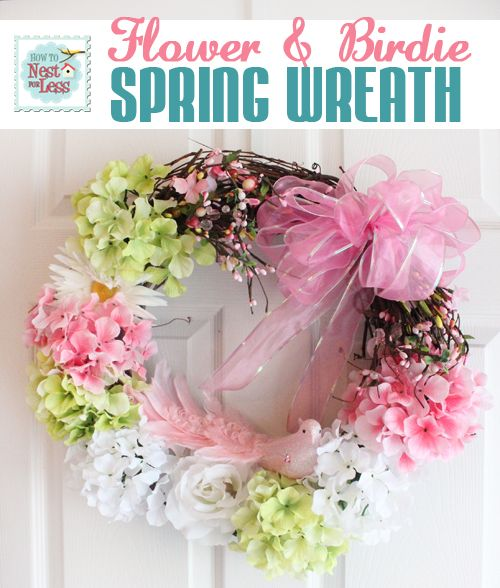 Spring Wreath with flowers & birdie