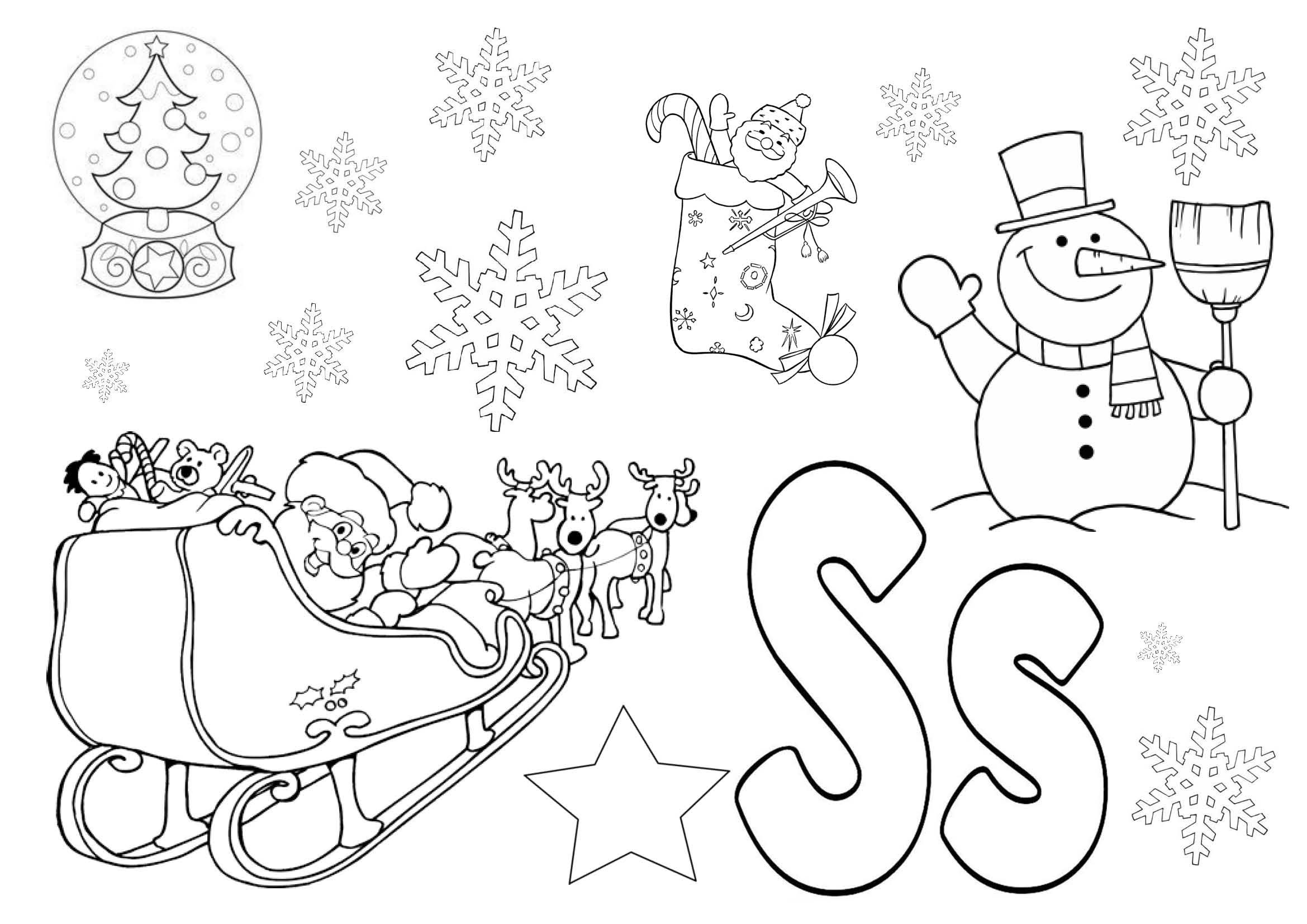 S Is For Christmas Colouring Page Featuring Snowman