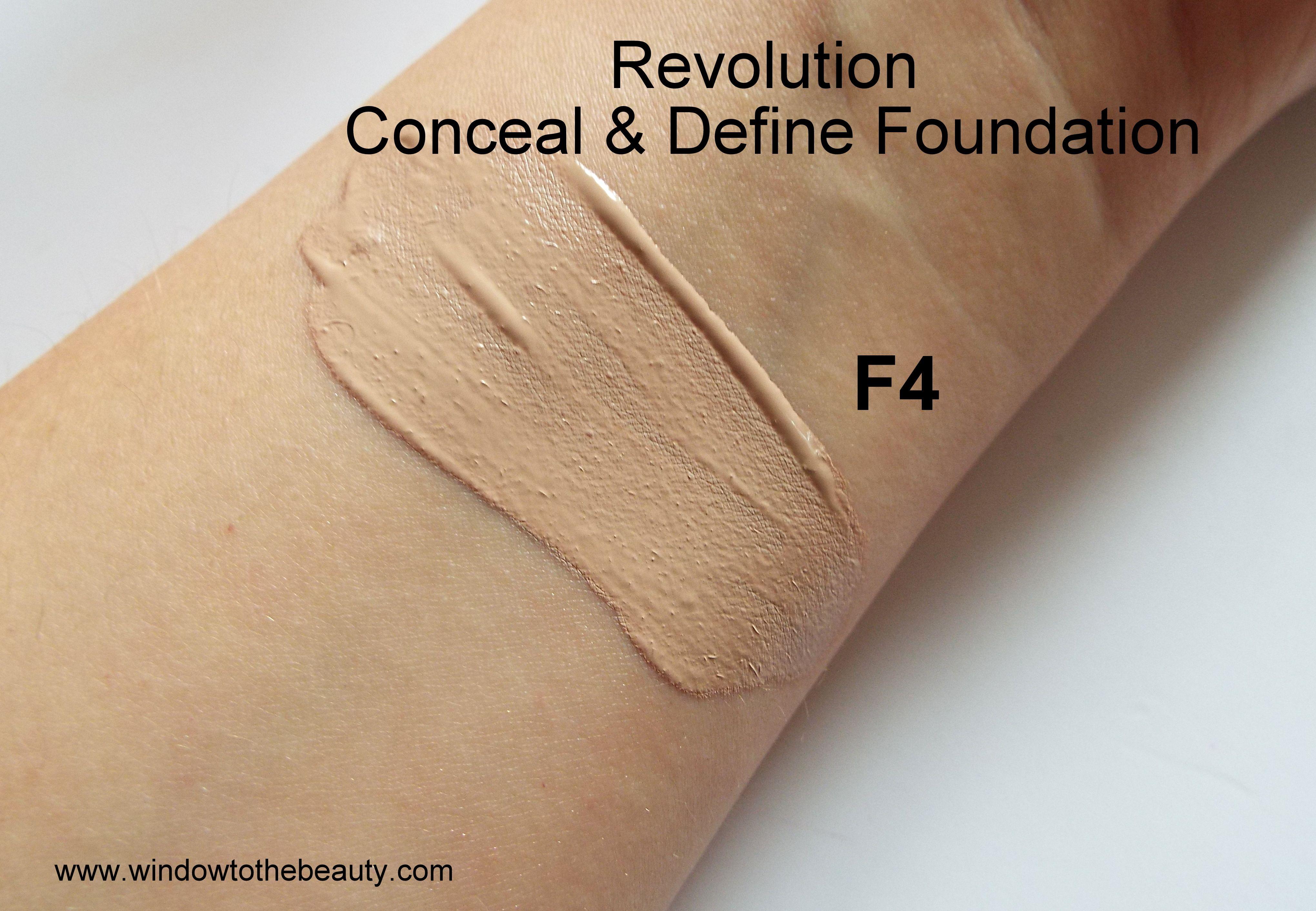 Revolution Conceal & Define Foundation f4 swatches
