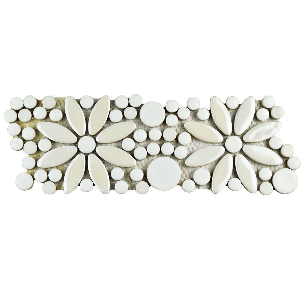 merola tile galaxy flower white 4-1/4 in. x 12-3/4 in. x 9 mm