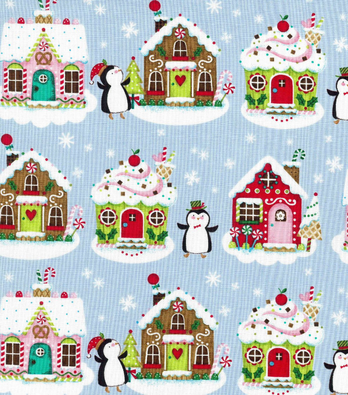 christmas cotton fabric penguins gingerbread houses