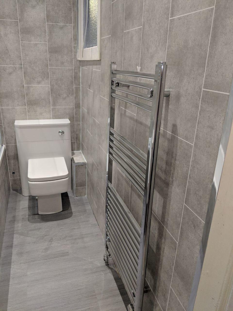Grey Tile Effect Panel 250mm Waterproof Bathroom Wall Panels Bathroom Wall Coverings Bathroom Wall Tile