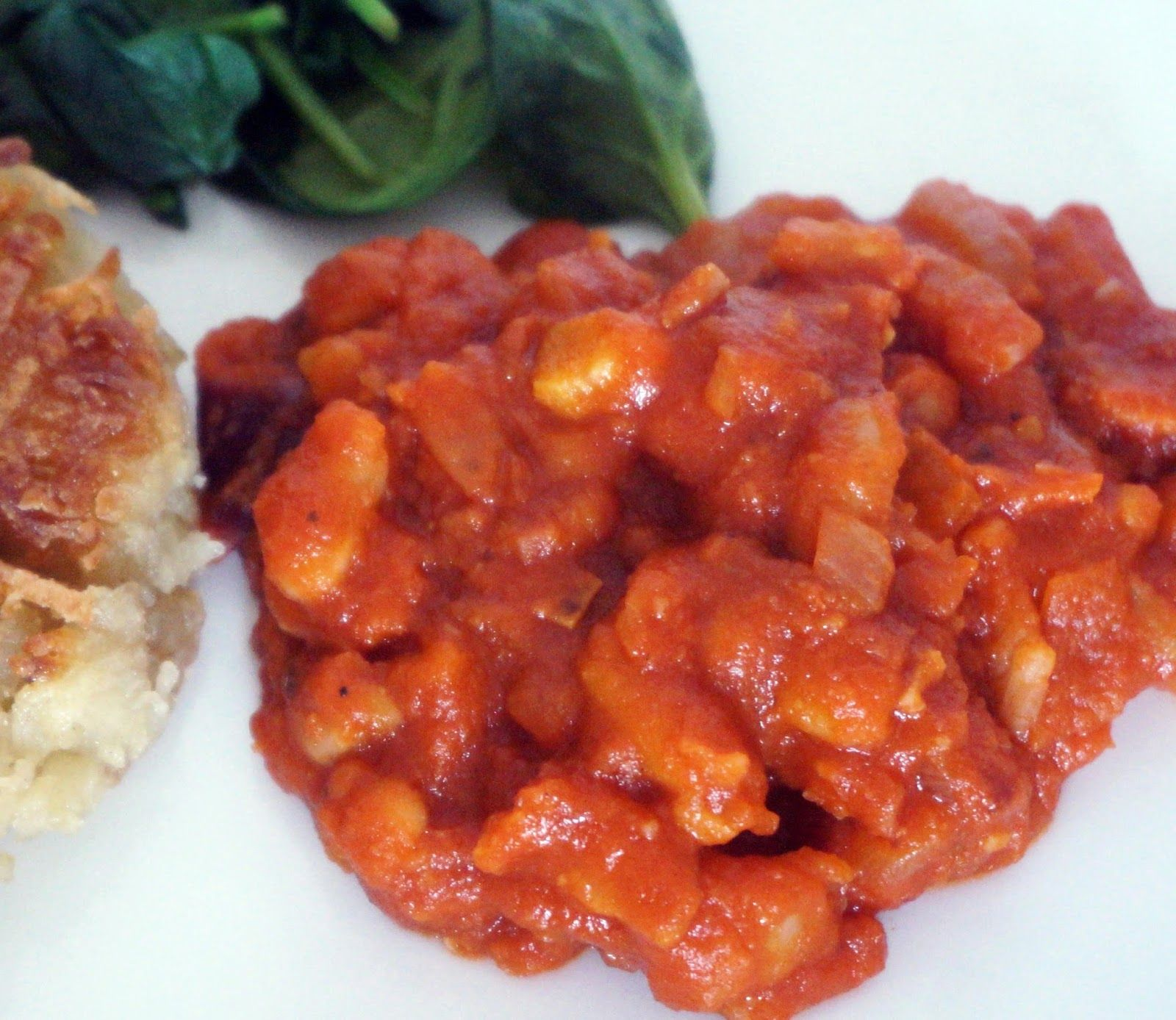 Gordon Ramsay's Baked Beans.    Sub out the bacon + W. sauce