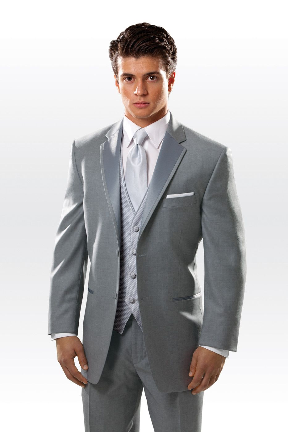 Tuxedo idea; Dark grey/silver w/ Blue accents to match bridesmaids ...